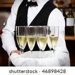 Professional Waiter In Uniform...