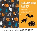 halloween party seamless... | Shutterstock .eps vector #468985295