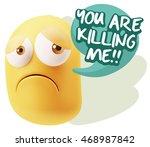 3d rendering sad character... | Shutterstock . vector #468987842