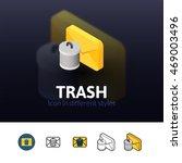 trash color icon  vector symbol ...