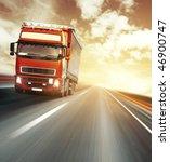 red truck on blurry asphalt...   Shutterstock . vector #46900747