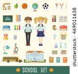 set of school icons in flat...   Shutterstock .eps vector #469011638