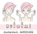 young woman cleaning makeup on... | Shutterstock .eps vector #469021406