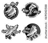 roller derby monochrome emblems ... | Shutterstock .eps vector #469040588
