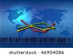 blue background world map with... | Shutterstock . vector #46904086