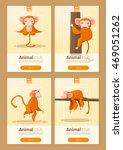 animal banner with monkeys for... | Shutterstock .eps vector #469051262