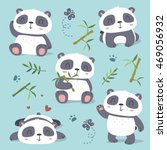 vector cartoon style cute panda ... | Shutterstock .eps vector #469056932
