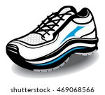 athletic running blue white and ... | Shutterstock .eps vector #469068566