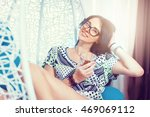 young woman drinking whiskey... | Shutterstock . vector #469069112