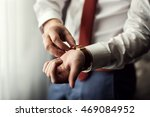 businessman checking time on... | Shutterstock . vector #469084952