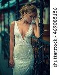 beautiful bride outdoors on a... | Shutterstock . vector #469085156