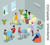 isometric interior office... | Shutterstock .eps vector #469091312