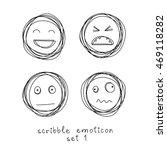 vector set of doodle emoticons... | Shutterstock .eps vector #469118282