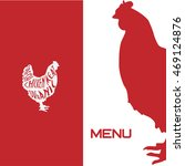 Cover menu template with chicken. Hen vector. Chicken vector. Hen menu. Hen illustration - stock vector