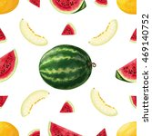 watermelon and melon. vector... | Shutterstock .eps vector #469140752