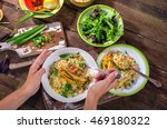 woman hands holding plate of... | Shutterstock . vector #469180322