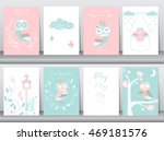 set of cute animals poster... | Shutterstock .eps vector #469181576