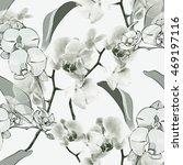orchid seamless pattern | Shutterstock . vector #469197116