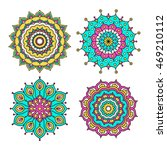 set of colorful doodle mandalas.... | Shutterstock .eps vector #469210112