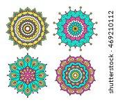 set of colorful doodle mandalas.... | Shutterstock .eps vector #469210112