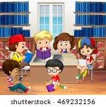 boys and girls reading in... | Shutterstock .eps vector #469232156