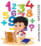 Boy Doing Math With Abacus...