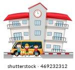 children and school van at the... | Shutterstock .eps vector #469232312