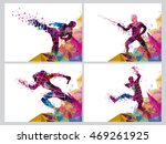 set of four sports poster ... | Shutterstock .eps vector #469261925