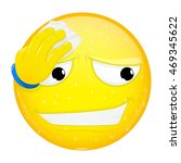 emoji wipes the sweat with a... | Shutterstock .eps vector #469345622