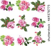 pink rose flowers set vector | Shutterstock .eps vector #469378775