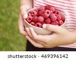 a plate with a raspberry in the ... | Shutterstock . vector #469396142