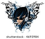 girl with headphones on grunge... | Shutterstock .eps vector #4693984