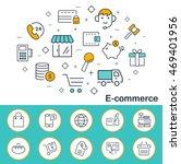 e commerce banner in flat style....   Shutterstock . vector #469401956