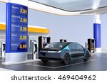 electric vehicle charging at...   Shutterstock . vector #469404962