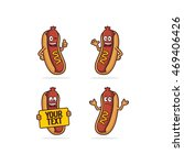 hot dog character cartoon | Shutterstock .eps vector #469406426