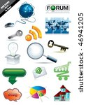 web icon set shiny and glossy ... | Shutterstock .eps vector #46941205