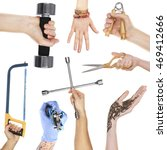 hands holding different objects ... | Shutterstock . vector #469412666