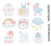 baby shower invitation template ... | Shutterstock .eps vector #469418495
