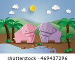 origami made elephant in the ... | Shutterstock .eps vector #469437296