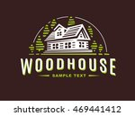 Stock vector logo wooden house on dark background 469441412