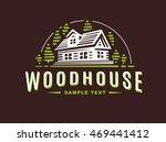 logo wooden house on dark... | Shutterstock .eps vector #469441412