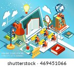 online education isometric flat ... | Shutterstock .eps vector #469451066