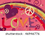 love peace and hearts in hot... | Shutterstock .eps vector #46946776