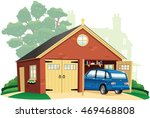 double garage and automobile. | Shutterstock .eps vector #469468808