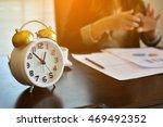 alarm clock on office desk .... | Shutterstock . vector #469492352