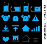 set of mobile icons on black...