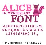 Stock vector alice in wonderland font fairy abc mad alphabet cheshire cat set of letters magical beast 469526888