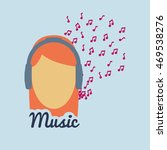 woman girl headphone music note ... | Shutterstock .eps vector #469538276
