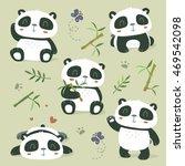 vector cartoon style cute panda ... | Shutterstock .eps vector #469542098