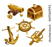 the set of gifts of gold on the ... | Shutterstock .eps vector #469560992